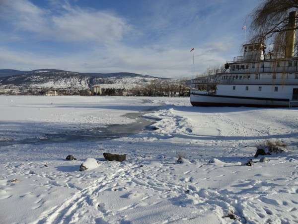 The SS Sicamous along a wintry shore of Okanagan Lake (January 2012 was a cold one!)