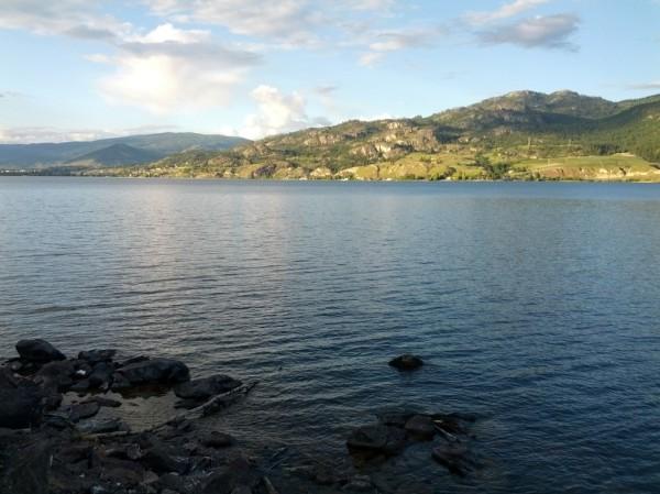 Almost home--evening sun along Skaha Lake