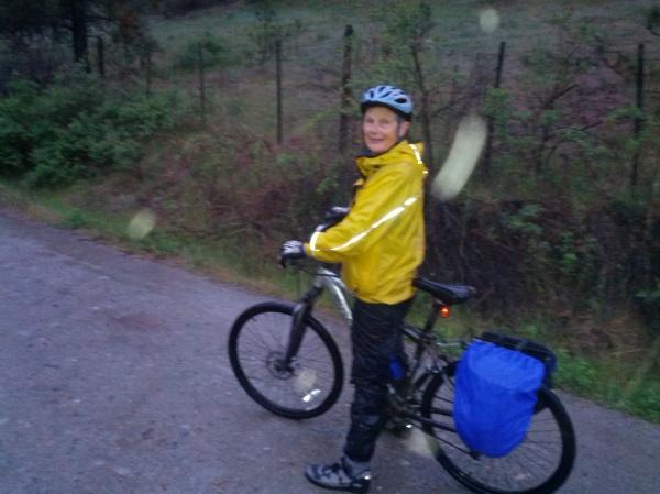 Eva Durance at the rainy start to our birdathon.