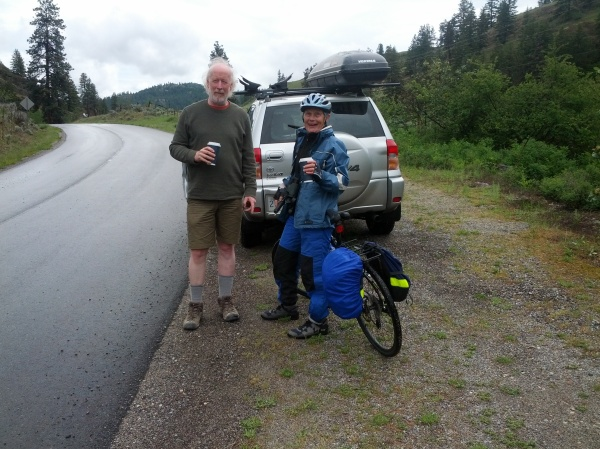 My brother Syd delivers coffee along the White Lake Road.  The rain is lighti